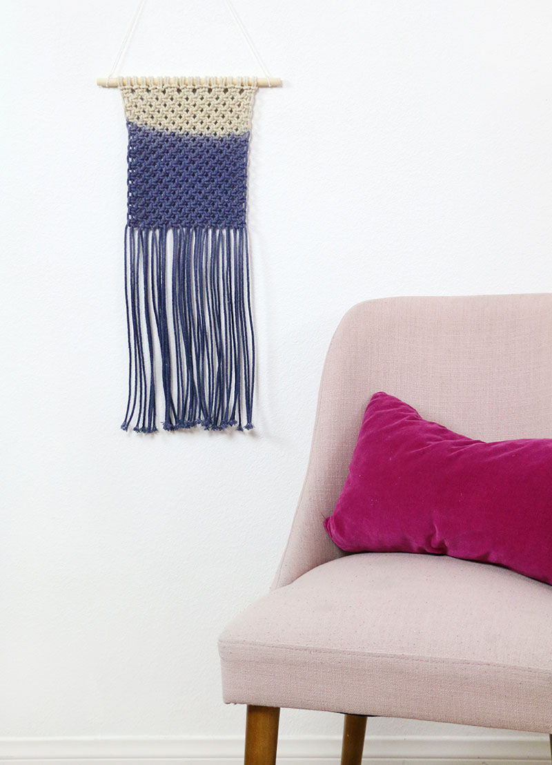 dip dyed diy macrame wall hanging