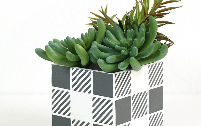 How to Make Reusable Stencils: DIY Buffalo Plaid Planter