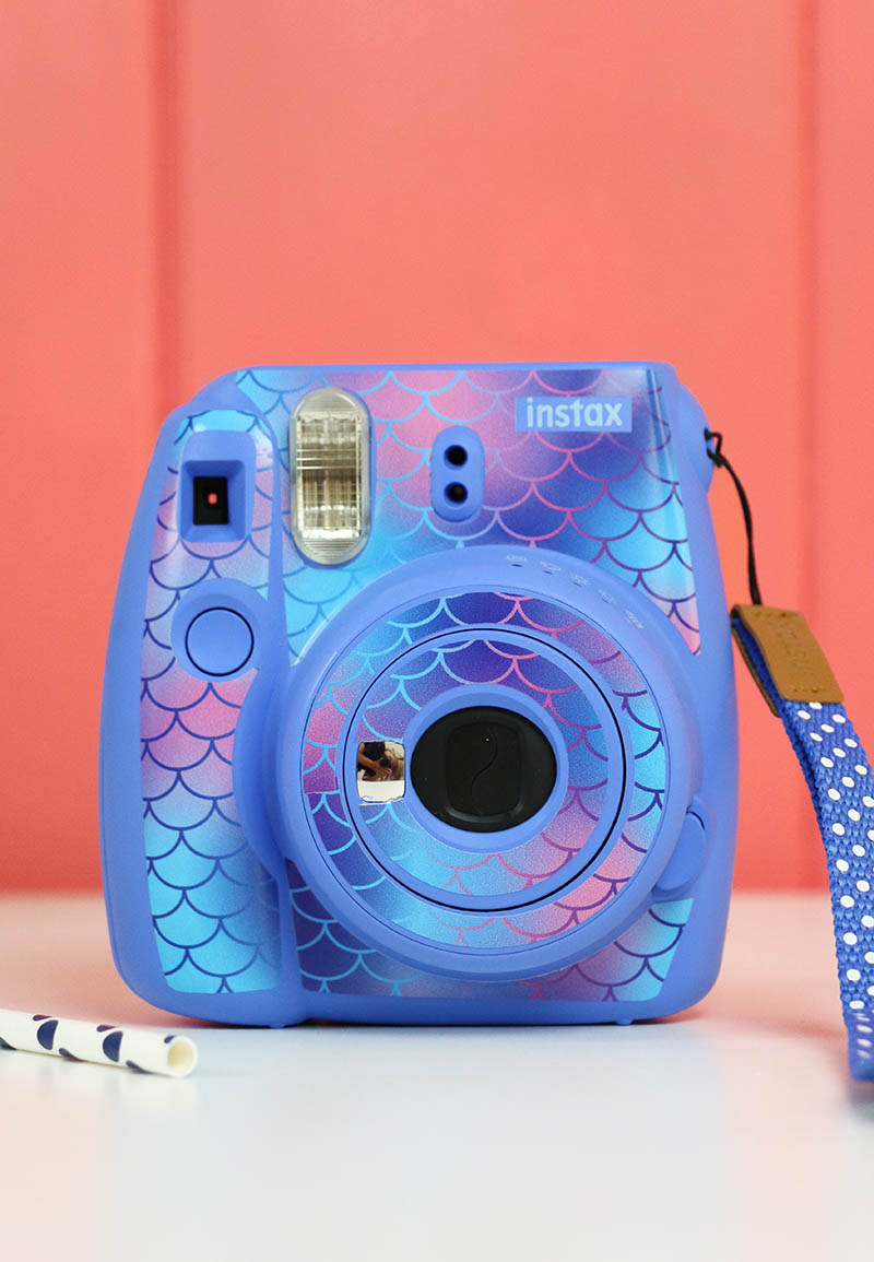mermaid scale patterned vinyl instax camera skin
