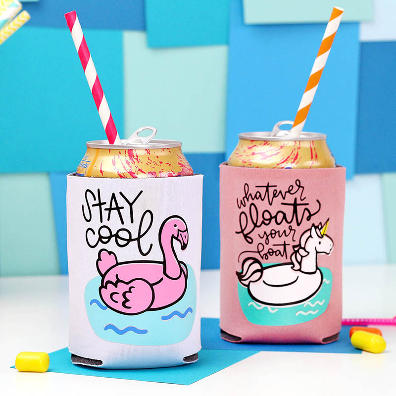 cute summer pool float koozies