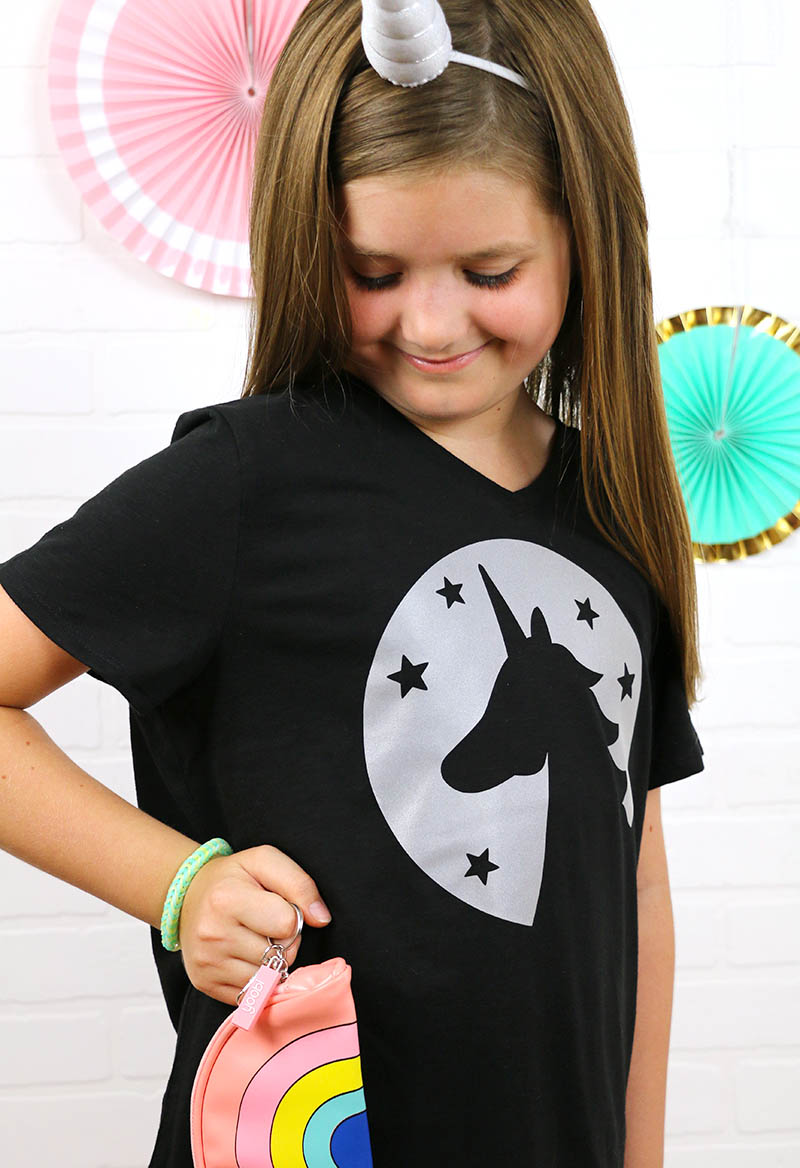 reflective heat transfer vinyl unicorn shirt