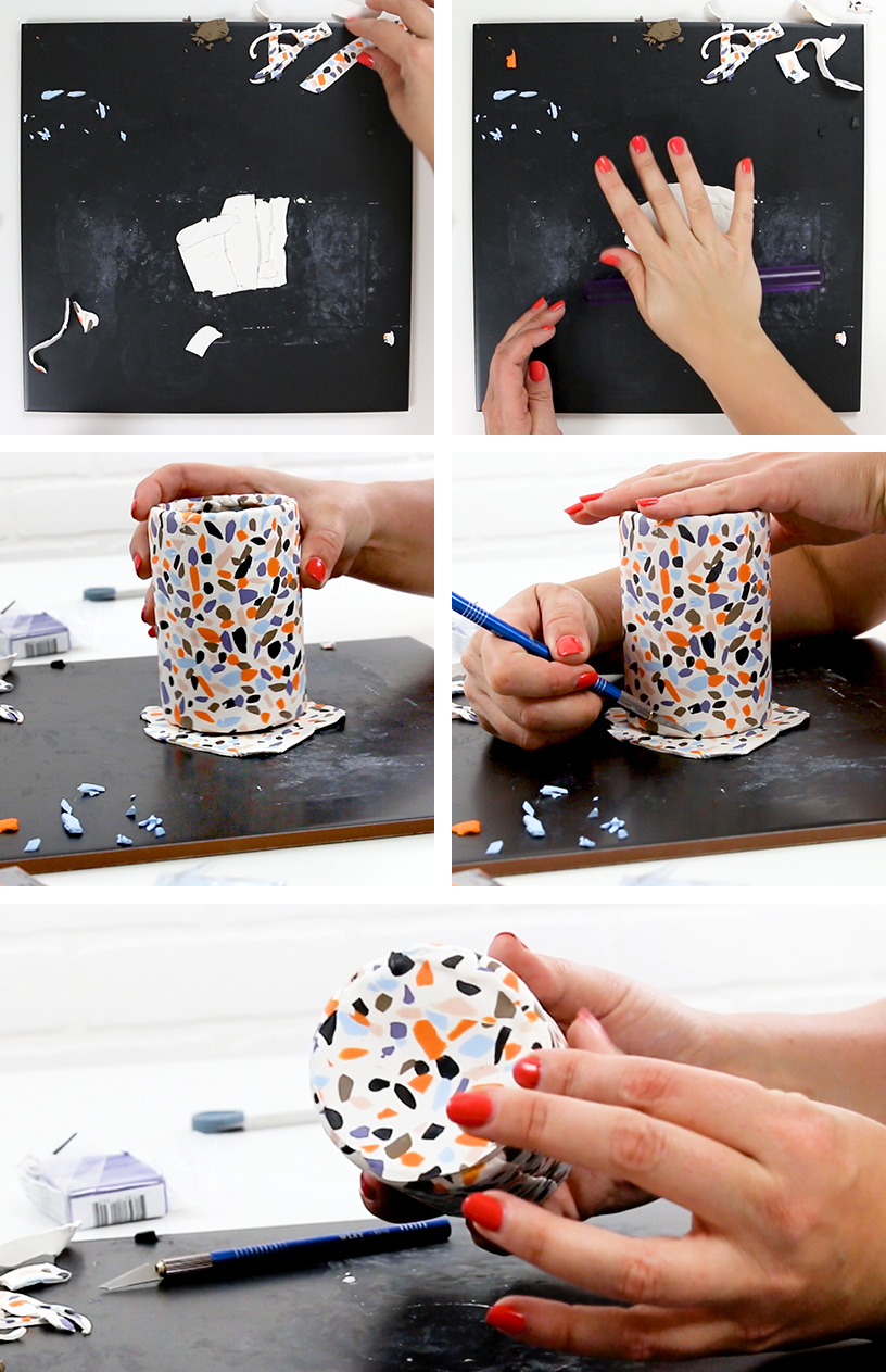 add piece of terrazzo clay to bottom of can