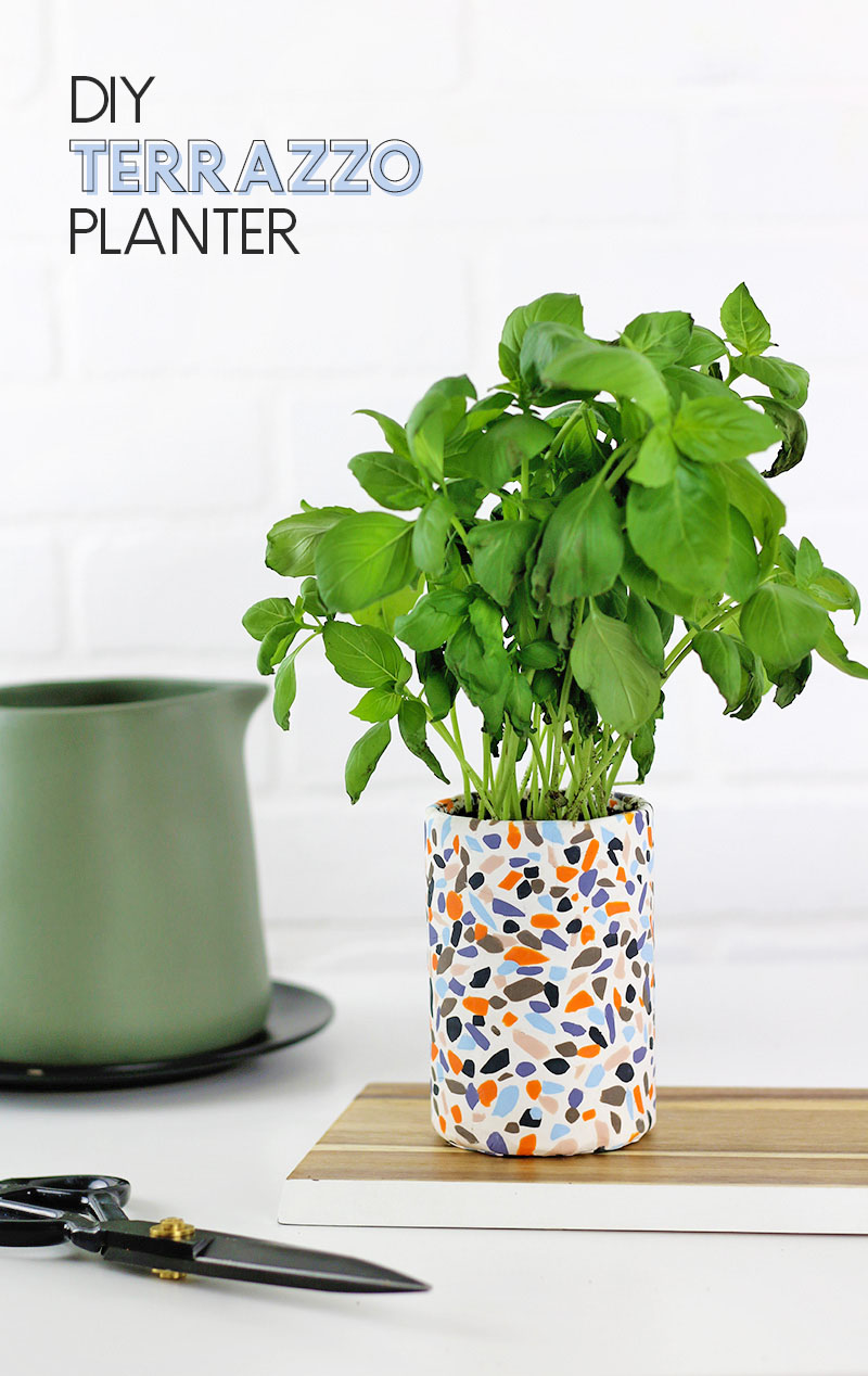 DIY terrazzo planter made with oven bake clay