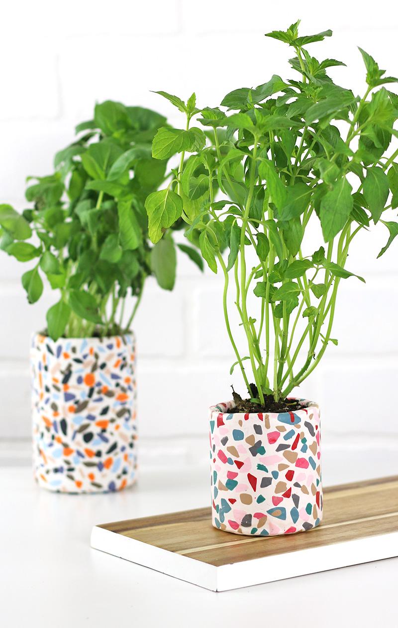 diy clay terrazzo planters