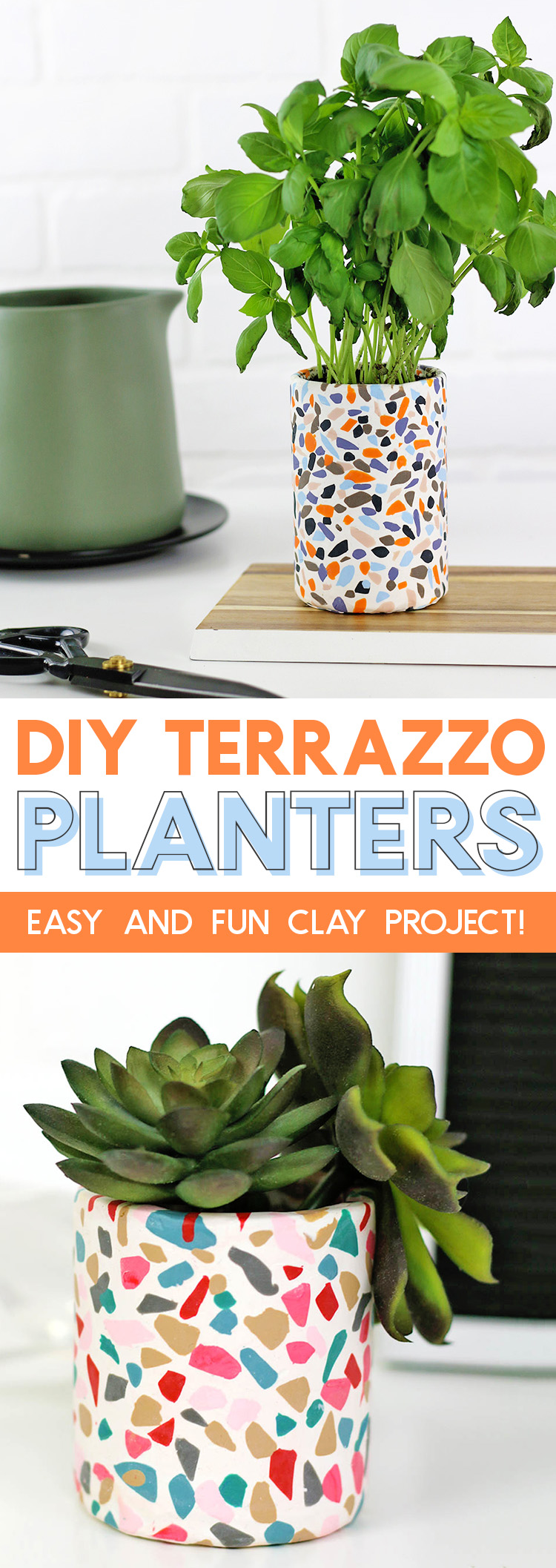 DIY Terrazzo planters made with oven bake clay