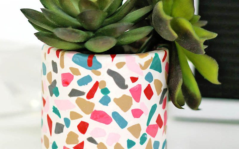 DIY Terrazzo Planter with Oven Bake Clay