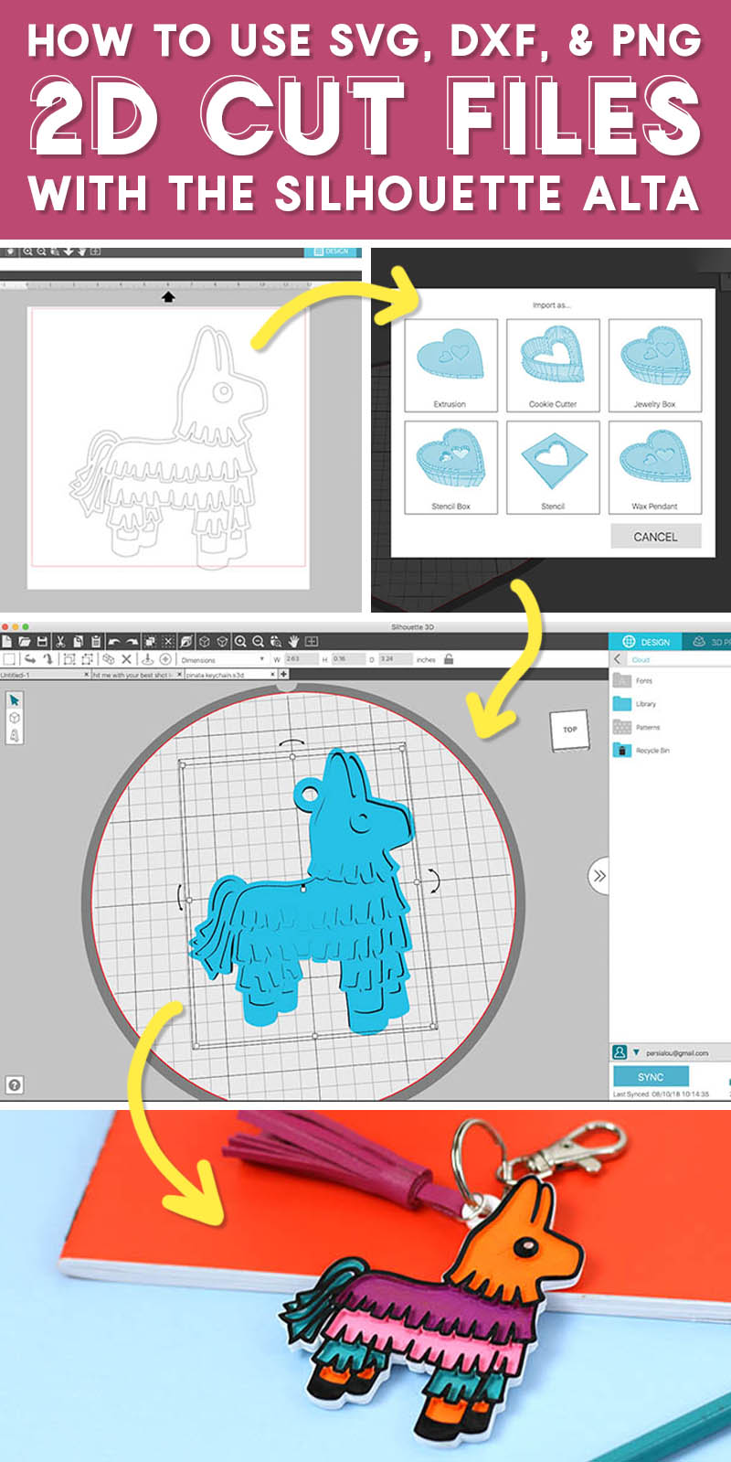 text reads how to use svg, dxf, & png 2D cut files with the Silhouette Alta and is followed by a collage of images showing screencaps of the Silhouette 3D software and a finished 3D printed piñata shaped keychain