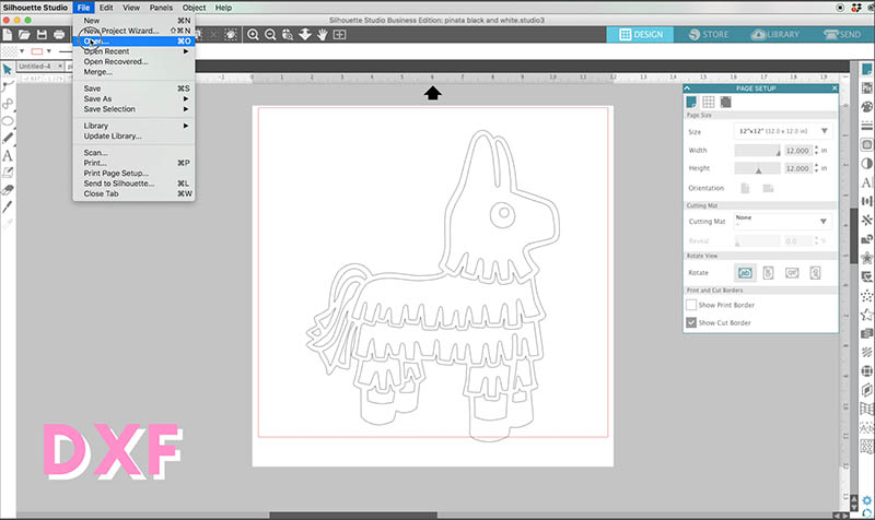 open dxf file in silhouette studio