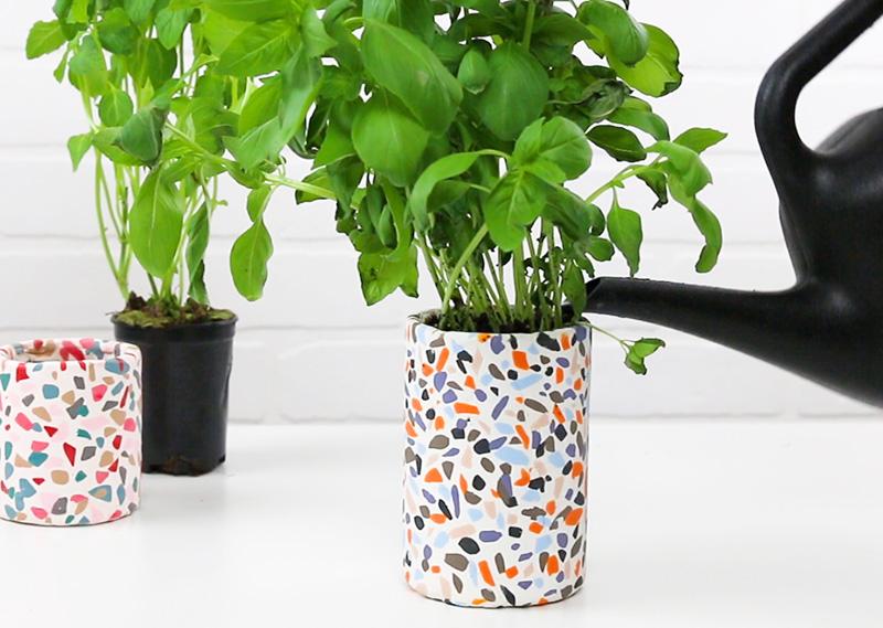 diy terrazzo herb planter