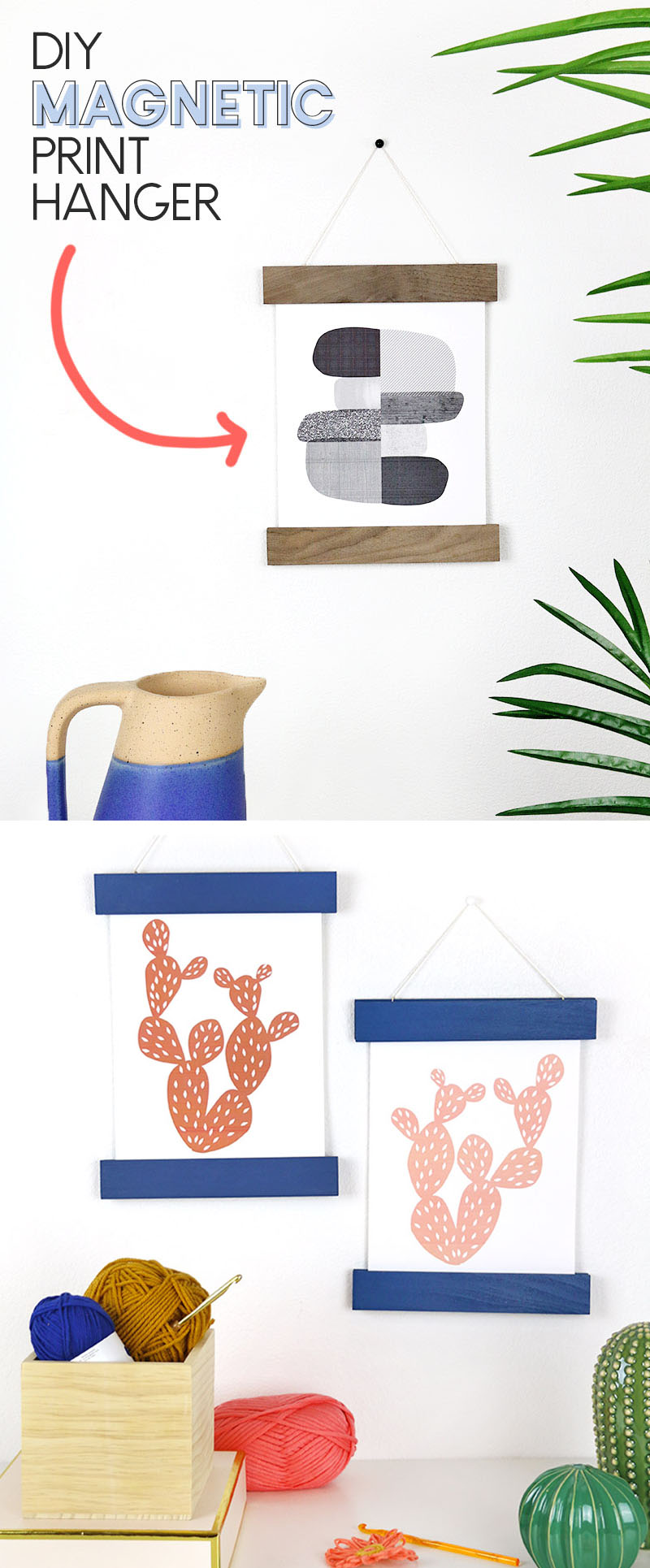 diy magnetic print hanger - so easy to change out art