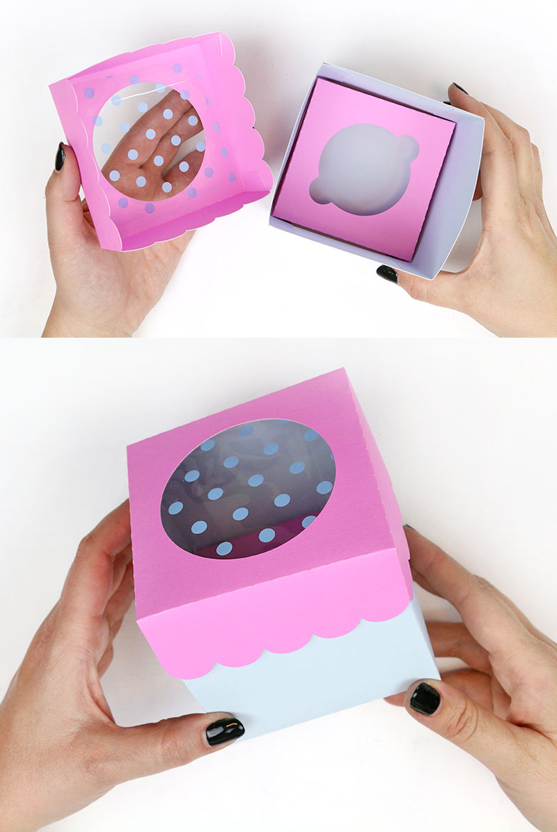 finished diy cupcake box with window