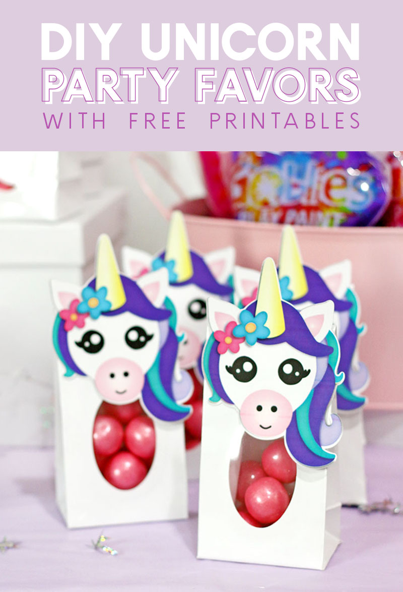 diy unicorn party favor treat bags free printables