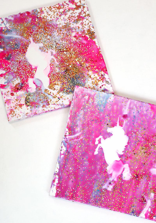finished unicorn splatter art unicorn party craft idea