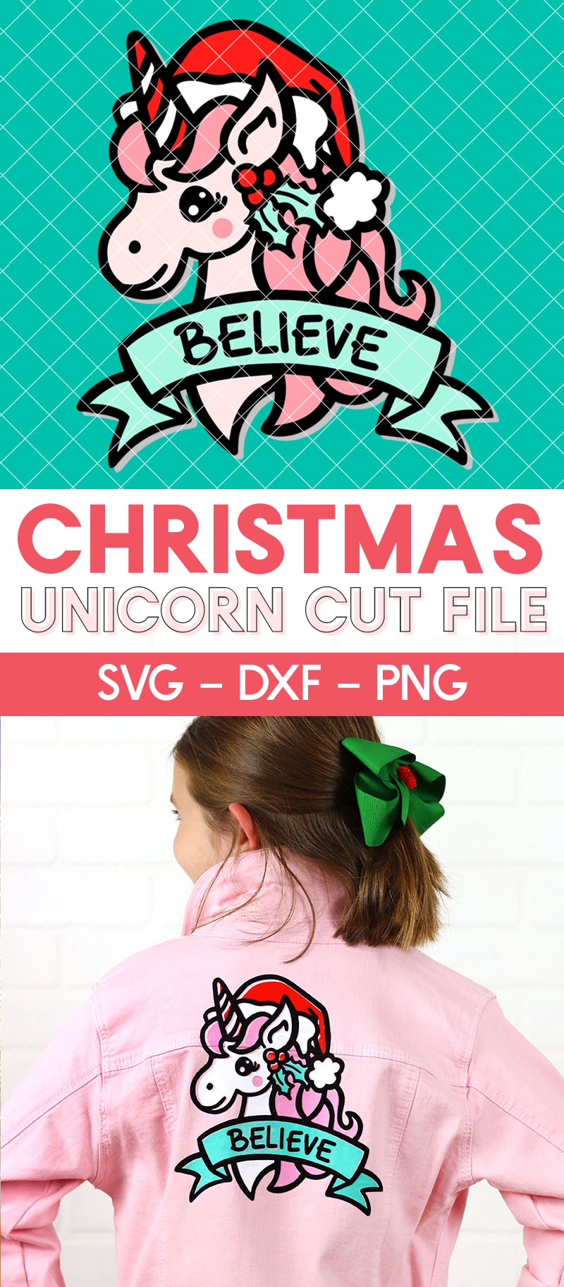 believe christmas unicorn cut file for silhouette or cricut