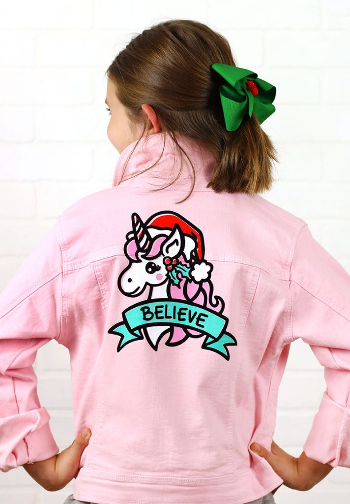 christmas unicorn jacket diy with holiday unicorn cut file