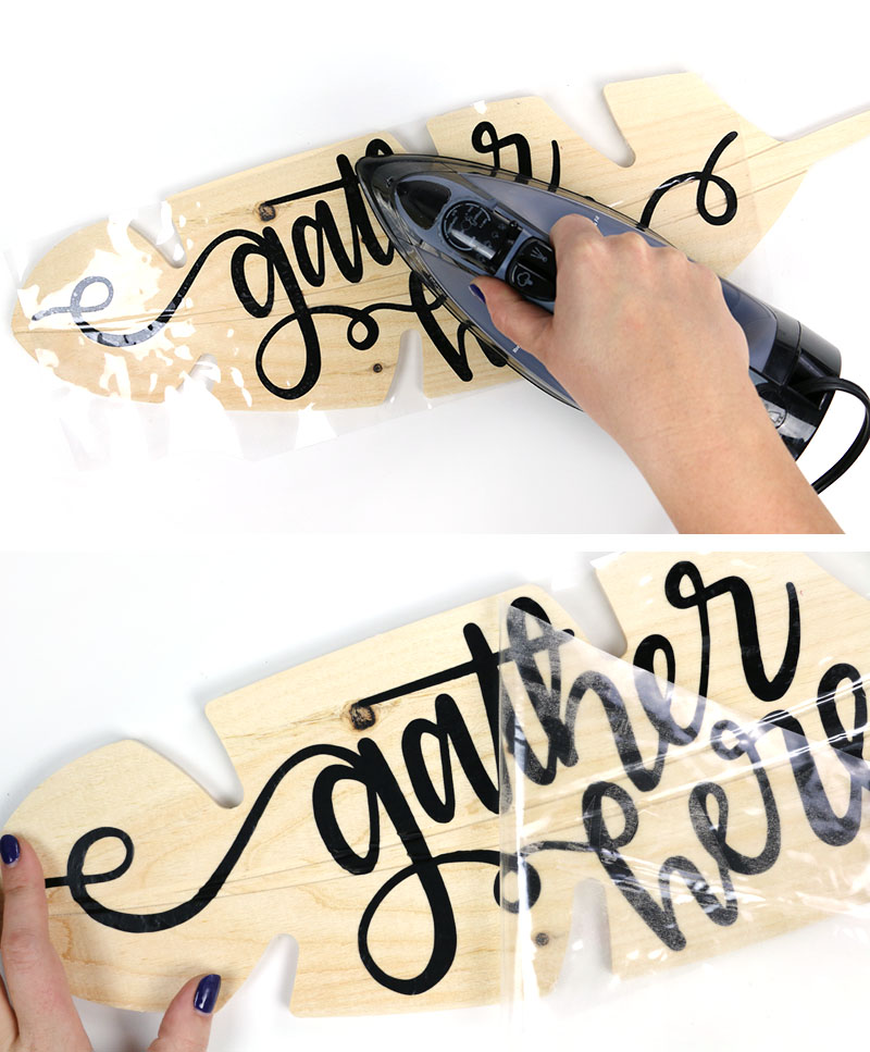 iron on htv for diy gather wood sign