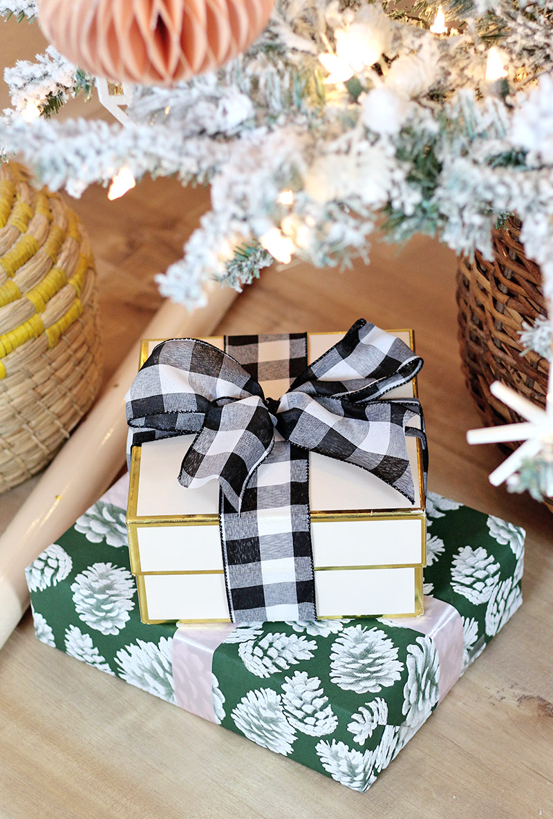modern natural christmas gifts buffalo plaid pink and green gift wrap