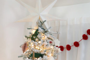 Modern, Natural Flocked Green and Pink Christmas Tree