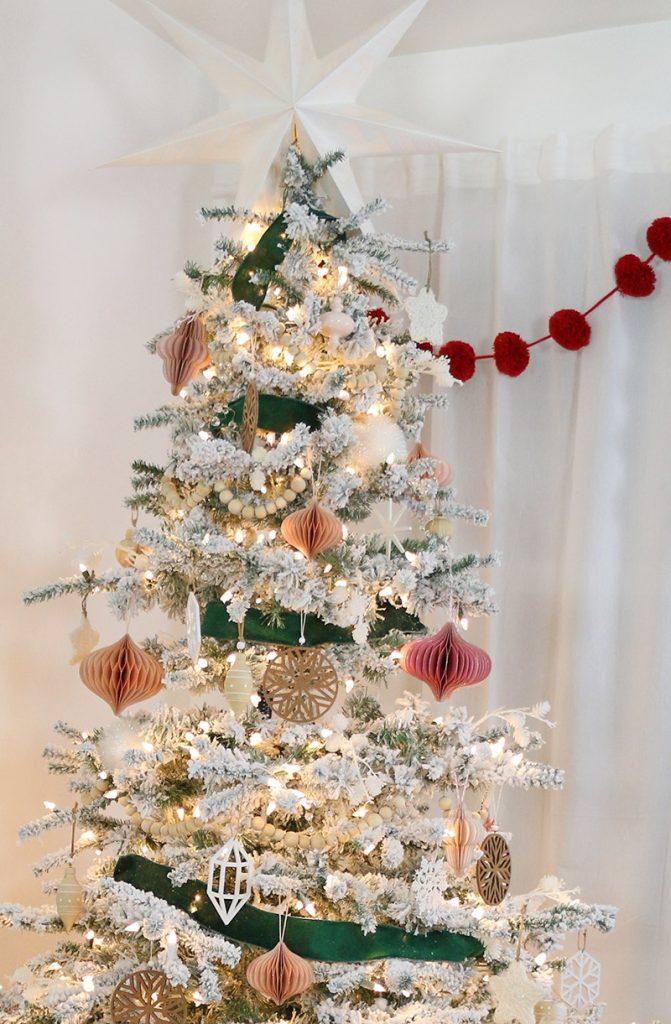 natural modern pink and green christmas tree