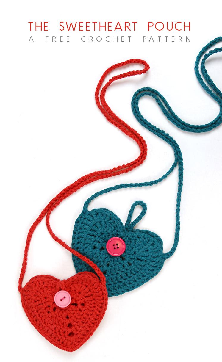 crochet heart pouch pattern
