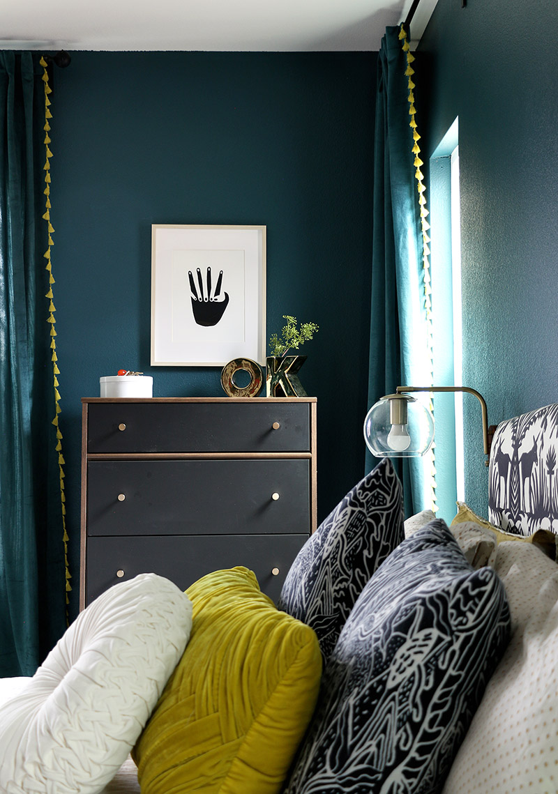 dark bedroom teal walls with matching curtains