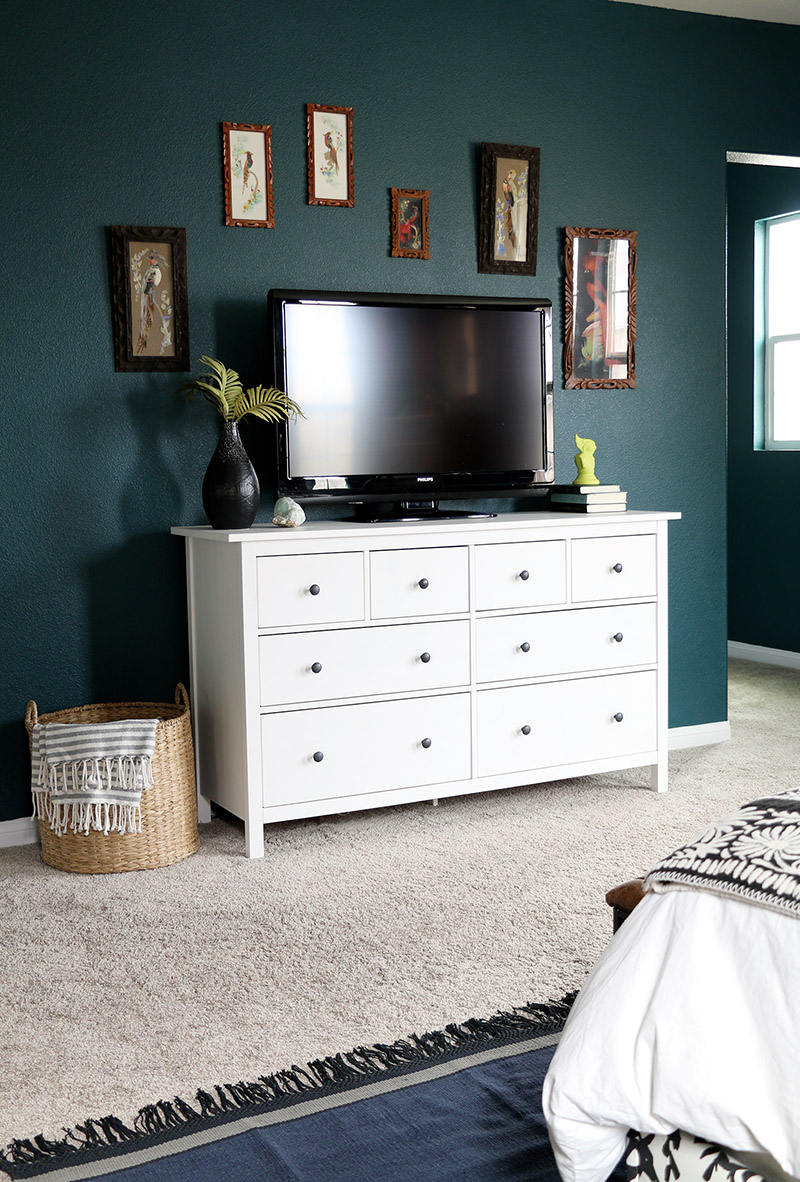 dark teal bedroom dresser angle