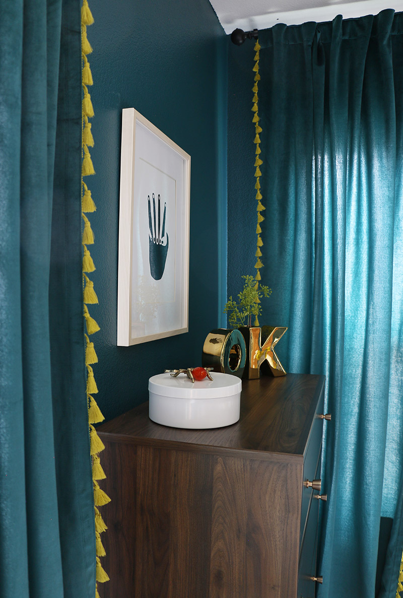 dark teal bedroom dresser detail