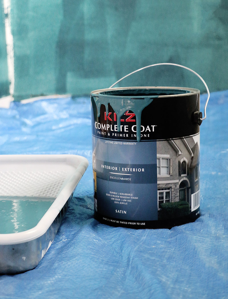 painting dark teal room