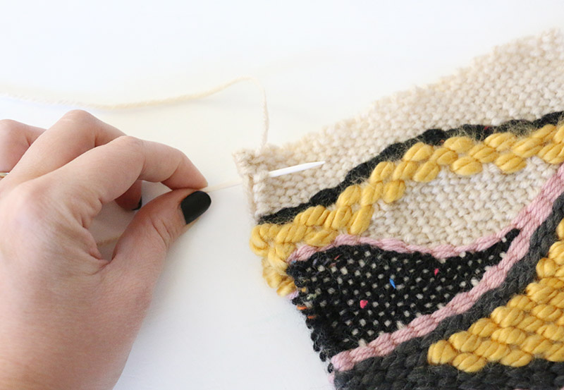 sew woven pieces together for bag