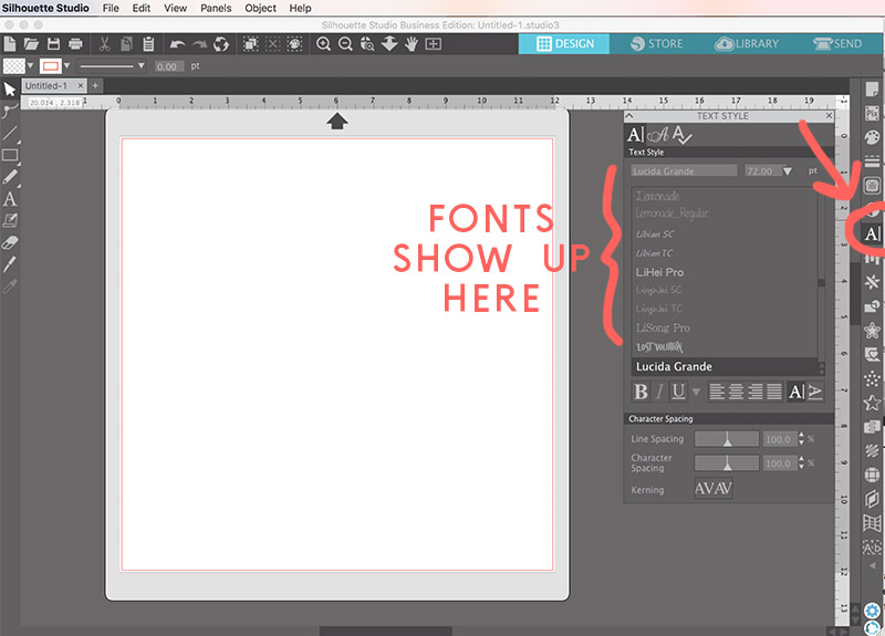 how to find your fonts in silhouette studio