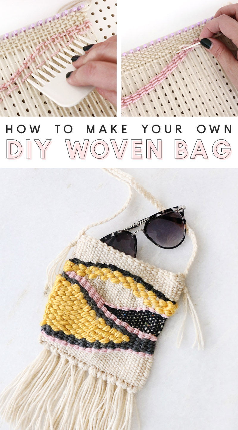 learn how to make your own woven bag with the look of trendy woven wall hangings
