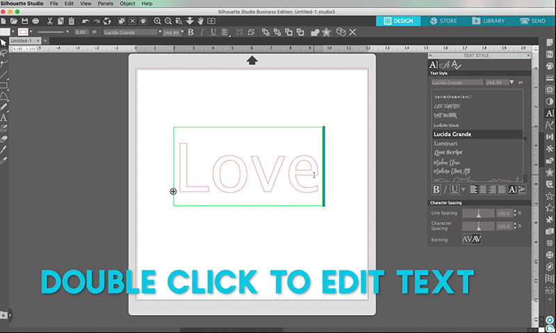 how to edit text in silhouette studio double click
