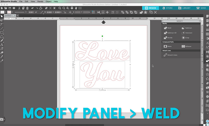 how to weld text in silhouette studio