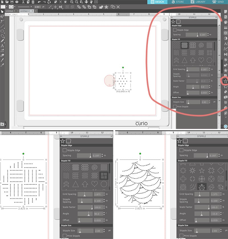 how to add stippled designs to clay earrings in the silhouette studio software