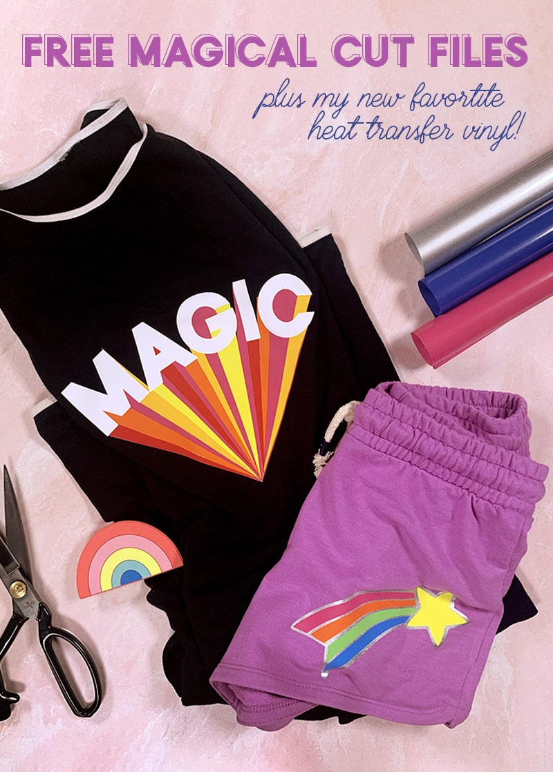 free magical cut files magic design on black shirt and shooting star cut file design on purple shorts