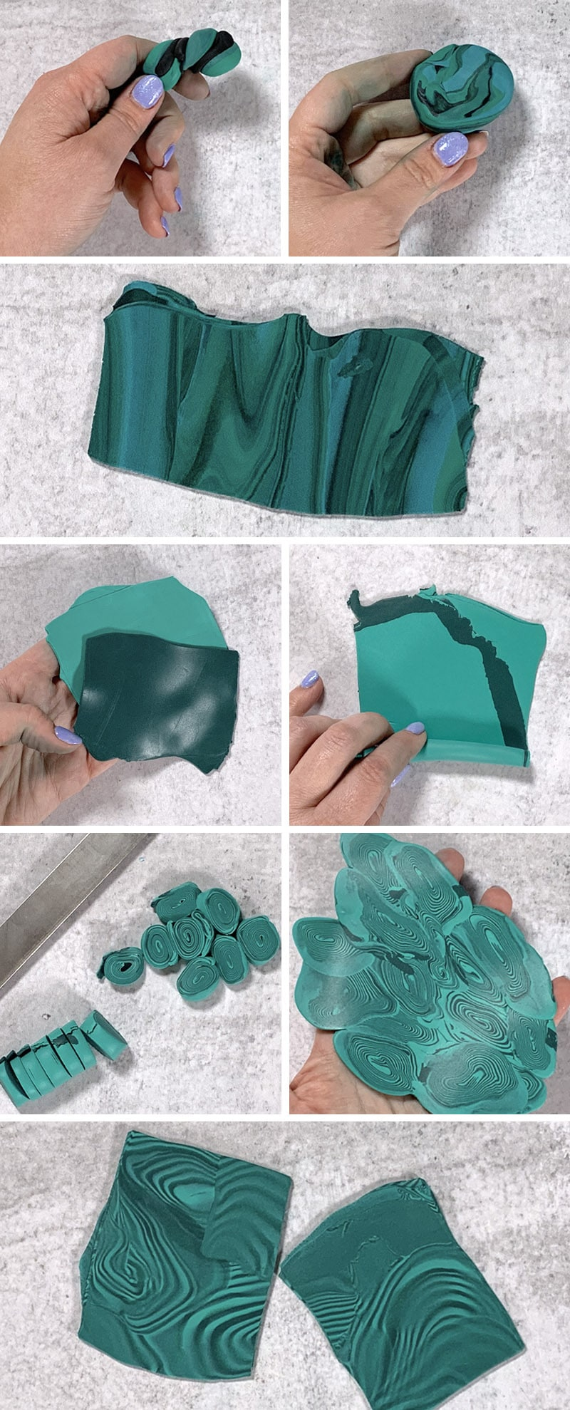 clay marbling step by step illustrations