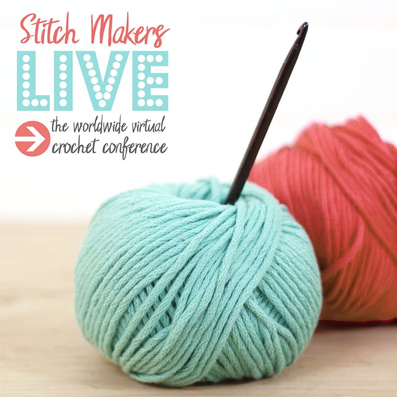 image of two balls of yarn with a crochet hook and the stitch makers live crochet conference logo