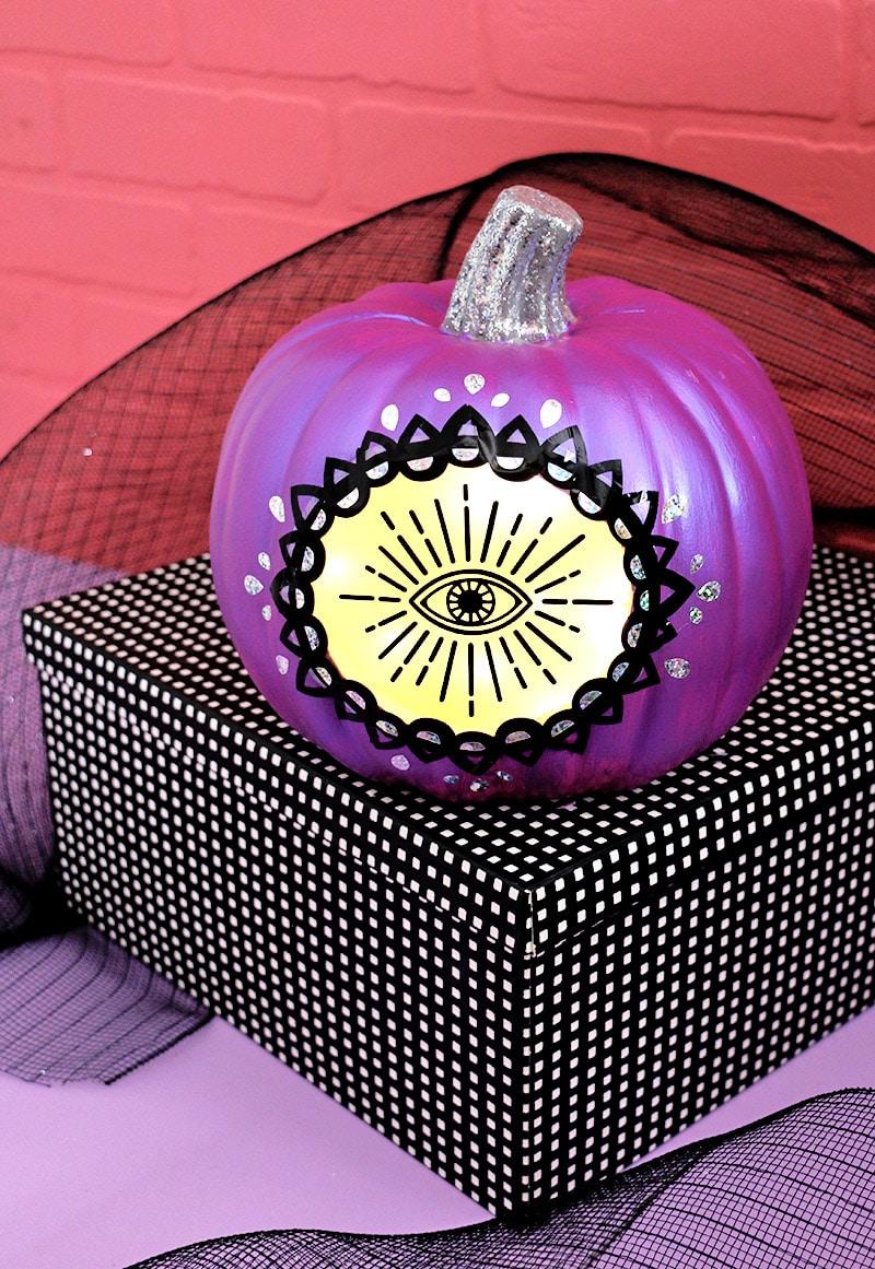 DIY Glowing Mystic Eye Pumpkin with Free Cut Files Persia Lou