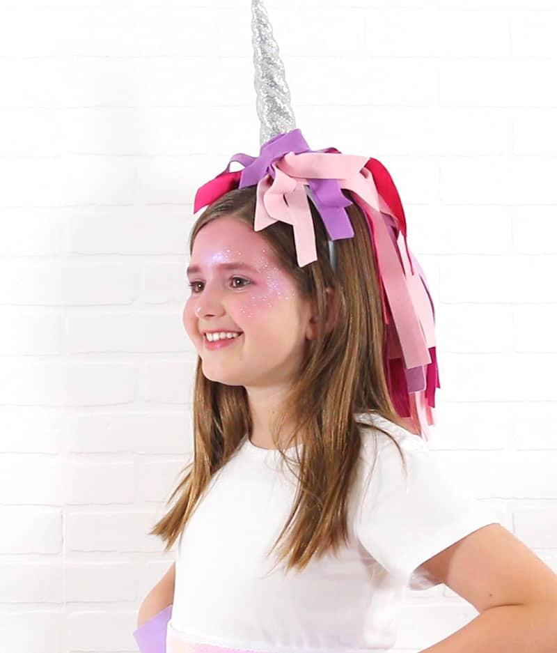 diy cute unicorn horn headband with colorful mane