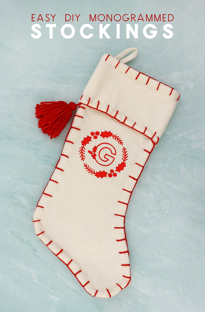 diy white felt stocking with red heat transfer vinyl monogram