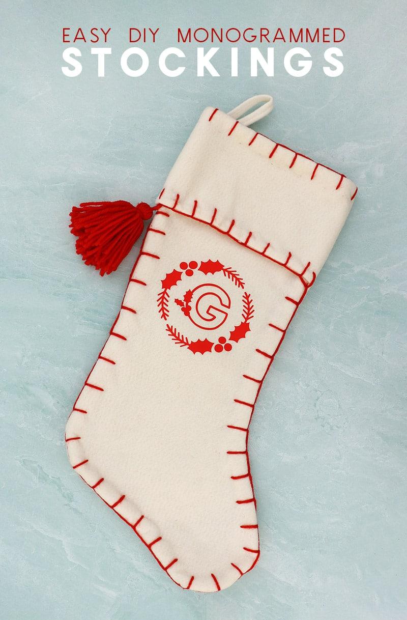 diy white felt stocking with red heat transfer vinyl monogram