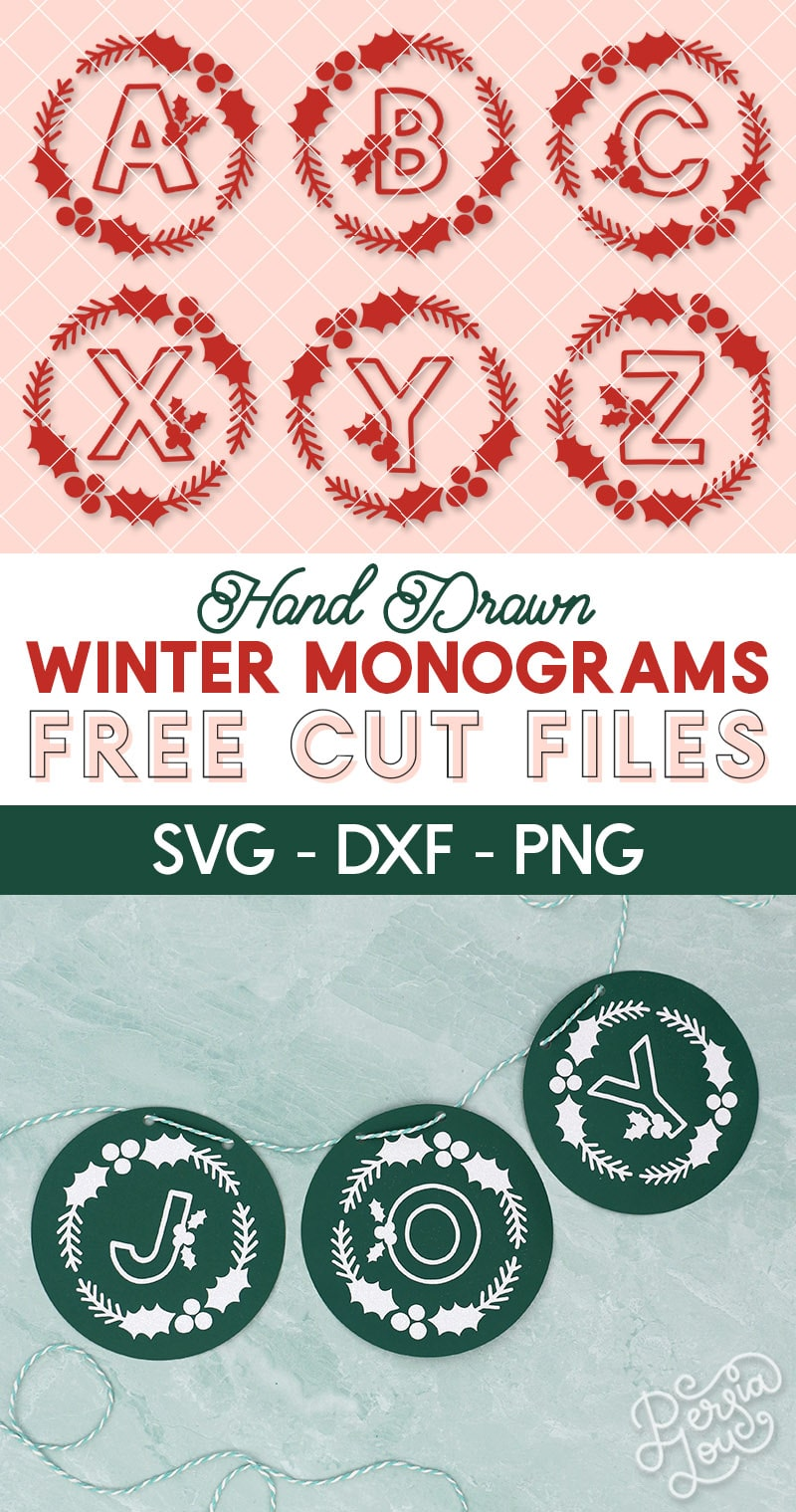free hand drawn winter monograms free cut files in svg dxf and png file formats