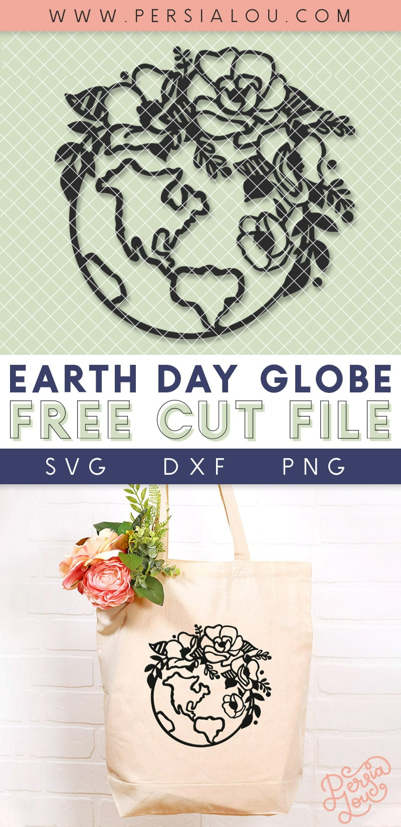 free earth day svg cut file drawing of the earth with flowers