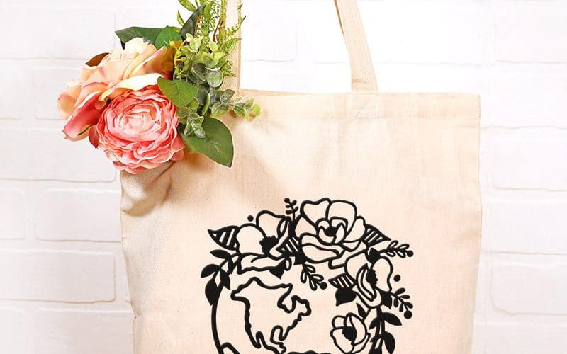 Free Earth Day SVG : Floral Globe Cut File and Tote Bag