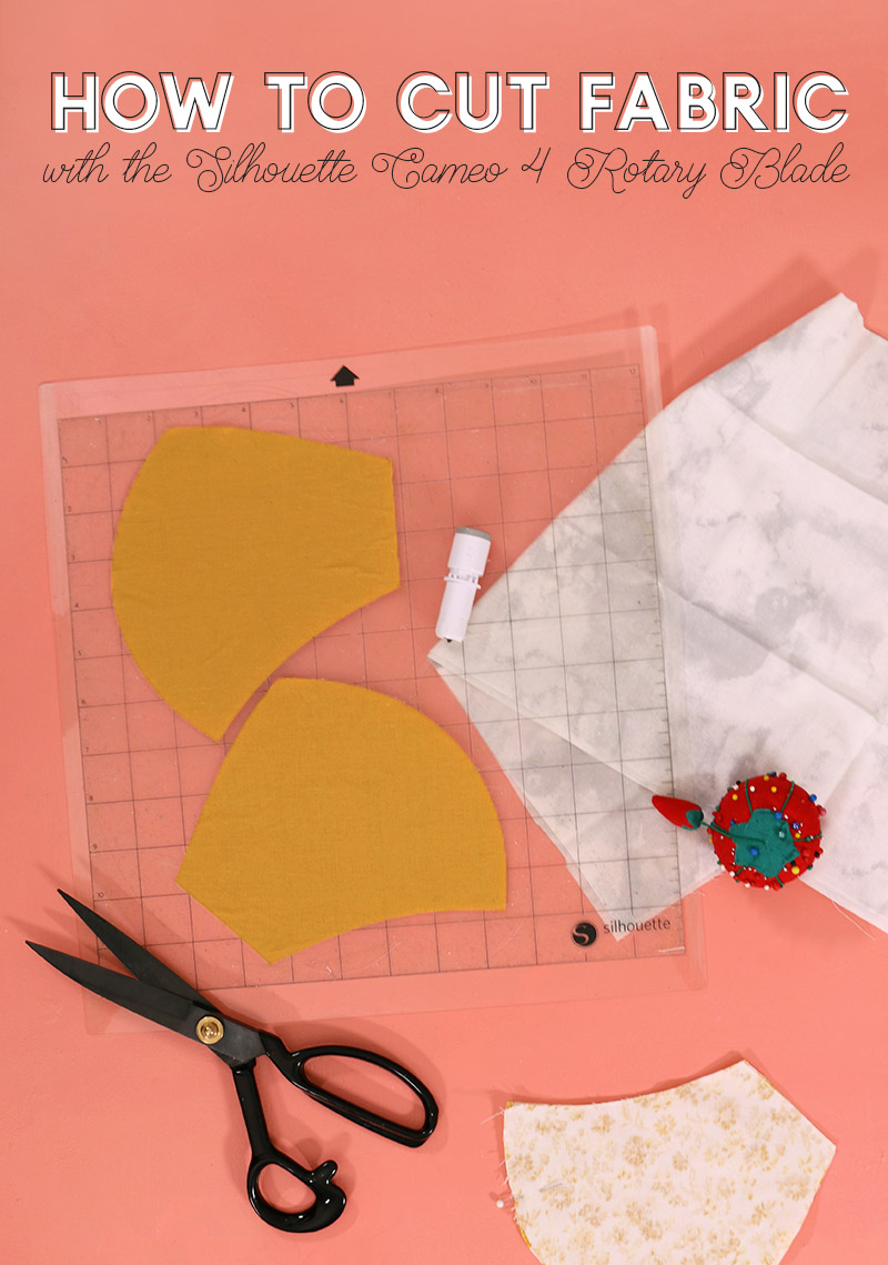 header image for how to cut fabric with the silhouette cameo 4 rotary blade - cut fabric on silhouette cutting mat