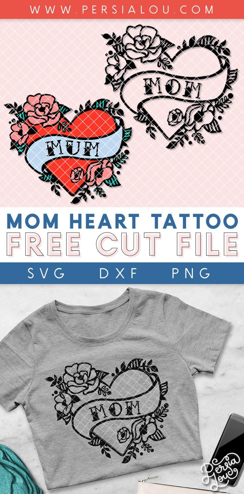 free mom or mum heart tattoo cut file