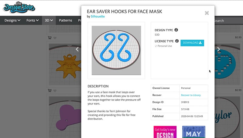 image of silhouette design store website ear savers