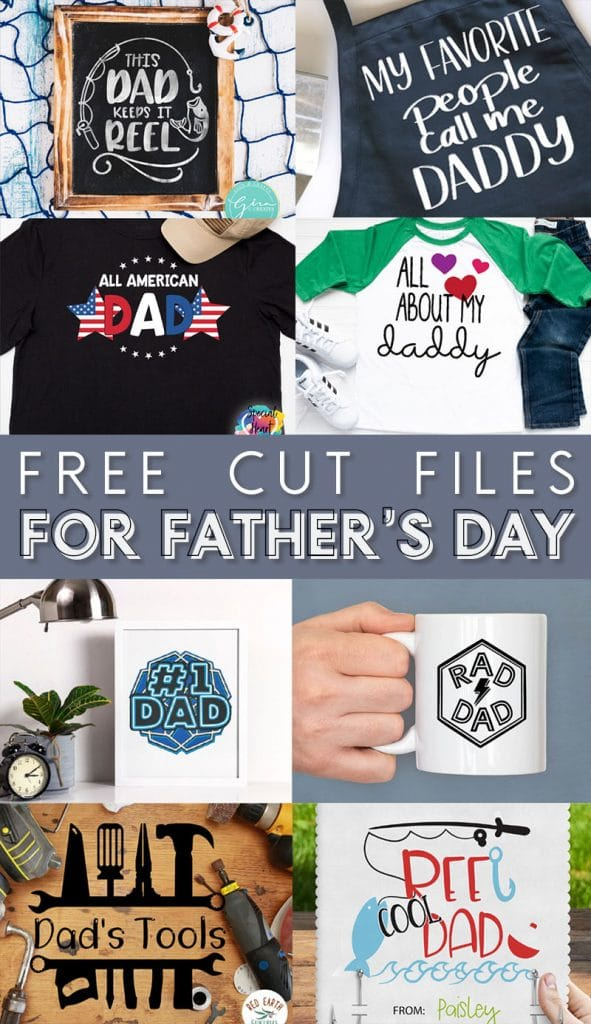 collage of 8 free svg cut files for father's day