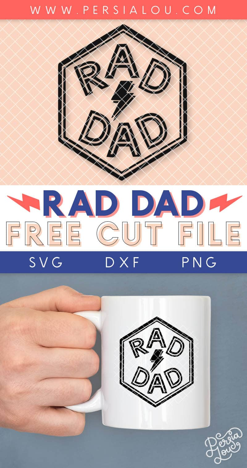 rad dad svg cut file pin image with rad dad hexagon design and image of design on mug