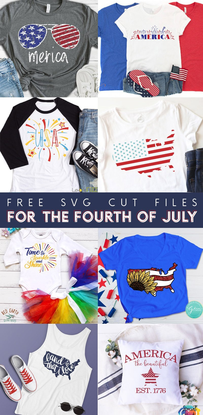 8 free svg cut files for the fourth of july collage